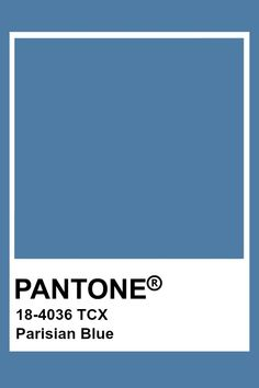 Pantone Parisian Blue Pantone Colour Palettes, Paint Color Palettes, Colour Pallette, Pantone Color, Colour Schemes, Color Trends, Paint Colors, Pantone Tcx, Pantone Swatches
