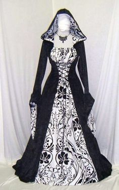 Medieval handfasting hooded dress by camelotcostumes. If I could do my wedding over, these would be the bridesmaid dresses. Medieval Gothic, Medieval Dress, Medieval Clothing, Mode Steampunk, Steampunk Fashion, Gothic Fashion, Pretty Dresses, Beautiful Dresses, Renaissance Wedding Dresses