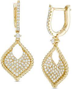 Zales 7/8 CT. T.W. Diamond Marquise Rope Edge Drop Hoop Earrings in 10K Gold