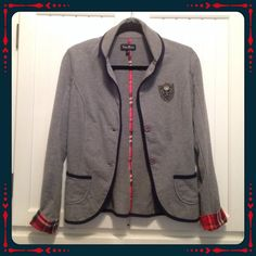 Lightweight Grey Jacket/Plaid Accents Super-cute lightweight grey jacket. Button front, plaid accents. Sleeves can be cuffed or uncuffed. Embroidered badge on one side. Excellent condition. No stains, rips, pilling, looks new. Shop with confidence: I'm a suggested user.  Tres Bien Jackets & Coats