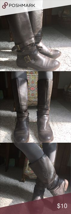 "Rocket Dog Boots Nice brown patina vegan leather boots with wrapped ankle buckled details. Slide on/off. Non slip sole with rocket dog imprint. Used condition with tons of life left. Come up 2"" below knee on me. I'm 5'4"".  Bundle and save!!! Rocket Dog Shoes Combat & Moto Boots"
