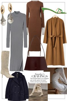 Sunday's Cravings: The Knitted Dress. by Far Sude sandals, Earrings, Knit dress, Dusty blue knit Casual Outfits, Cute Outfits, Fashion Outfits, Womens Fashion, Business Outfit, Dusty Blue, Fall Trends, Minimal Fashion, Parisian Style