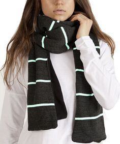 Love this Charcoal & Mint Stripe Fleece-Lined Scarf by Plush on #zulily! #zulilyfinds