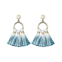 Sugarfix by BaubleBar Ombré Tassel Drop Earrings ($13) ❤ liked on Polyvore featuring jewelry, earrings, navy, tassel drop earrings, navy blue drop earrings, post back earrings, navy blue hoop earrings and post drop earrings