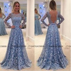 2016 Sky Blue Lace Dubai Arabic Long Sleeve Prom Dresses Custom Make Backless Illusion Full Length Cheap Occasion Evening Gown Long Evening Dresses Cheap Long Sleeve Evening Dresses Uk From Gaogao8899, $119.35| Dhgate.Com