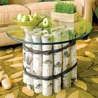 Elegant DIY rustic coffee table from birch logs, wire and a glass top.  allyou.com