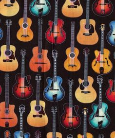 GUITAR Music Quilt Fabric - Electric & Acoustic Guitars - OVER 1 Yard