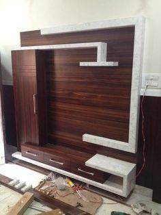 Image may contain: indoor Lcd Unit Design, Lcd Wall Design, Tv Unit Interior Design, Tv Unit Furniture Design, Wall Unit Designs, Living Room Tv Unit Designs, Bedroom Wall Designs, Bedroom Furniture Design, Tv Unit Decor