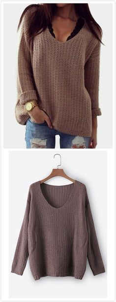Who doesn't love a stylish sweater? This casual sweater is a perfect sexy top featuring a v-neck and long sleeves. Style it with white shorts for a fresh look.
