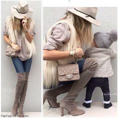 Chic fall outfit with faux fur vest,skinny jeans, Chanel bag and grey suede over-the-knee boots.