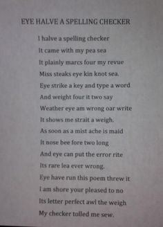 Never trust the spell check! Oh, the lessons I can teach with this poem!