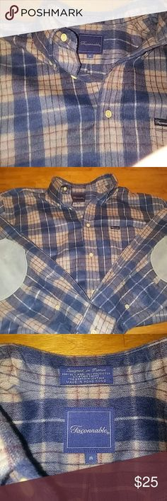 Faconnable Wool Flannel Shirt Embrace your inner Lumberjack now with this heavy duty Wool/Poly Blend Flannel shirt. Goat leather patches add a classy touch.  Super warm for those chilly spring mornings! Marked Medium, but fits more like a US large. Faconnable Shirts Casual Button Down Shirts