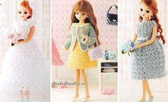 Вязаная одежда для кукол. Схемы вязания Barbie Dress, Barbie Clothes, Crochet Hats, Dolls, Pattern, Handmade, Dresses, Angel, Fashion