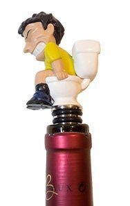 Constipated John Novelty Wine Bottle Stopper Funny Toilet Humor Gag Gift for Wine Lovers and Alcohol Drinkers, or Chefs