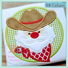 cowboy Santa applique design to be used for machine embroidery Local Embroidery, Embroidery Designs, Embroidery Boutique, Types Of Embroidery, Applique Designs, Embroidery Applique, Machine Embroidery, Beginner Embroidery, Cowboy Christmas