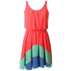 LOVE Watermelon Chiffon Rainbow Hem Dress ❤ liked on Polyvore featuring dresses, vestidos, robe, платья, red dress, rainbow dress, red chiffon dress and chiffon dress