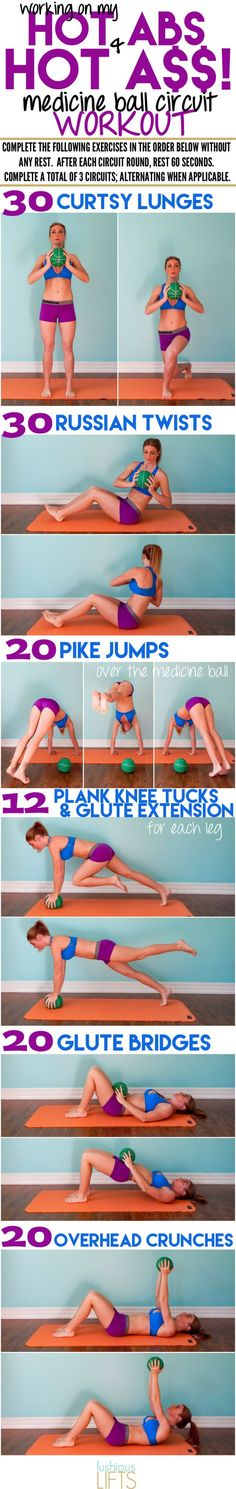 Working on my Hot Abs & Hot A$$ {Medicine Ball Circuit Workout}    lushiouslifts.com