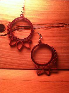 Plum Rust Sunburst Quilled Earrings