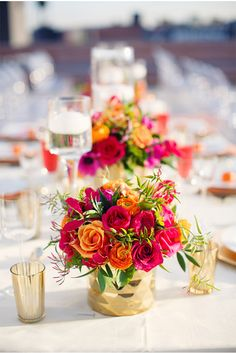 Bridal Bliss: Vibrant florals accented by gold vases and tea lights. Wedding Groom, Gold Wedding, Wedding Table, Floral Wedding, Summer Wedding, Dream Wedding, Ethnic Wedding, Wedding Ideas, Flower Centerpieces