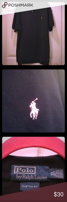 Men's Black Pink Pony Polo XL Excellent preowned Black Pink Pony Polo- Custom fit Polo by Ralph Lauren Shirts Polos