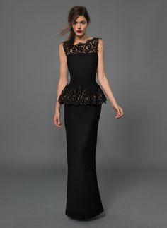 Black peplum prom dress