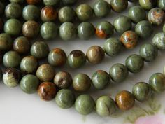 8mm Green Opal Gemstone Beads, Half Strand (IND1C575)