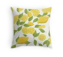 'Fresh lemons and leaves' Throw Pillow by MariArt-World