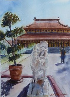 """The Temple. Watercolor Original Painting Signed 11"""" x 15""""  art #Realism"""