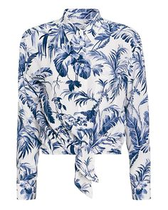 Equipment EXCLUSIVE Daddy Tie Front Leaf Print Blouse: Breezy printed silk makes for a chic blouse layer. Collared, button placket, cuffable long sleeves and retro tie at hem. In white/blue leaf print.   Fabric: 100% silk Made in China.  Model Measurements: Height 5'10 1/2; Waist 24 ; Bust 31 wearing size ...