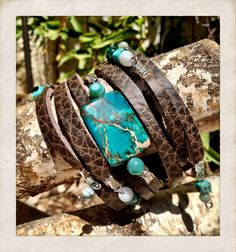 Brown leather cuff bracelet with Turquoise beads Strappy by TornTo, $47.00