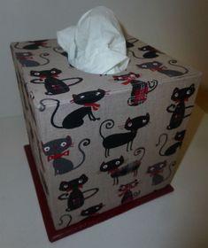 boîte à mouchoirs tissu chat