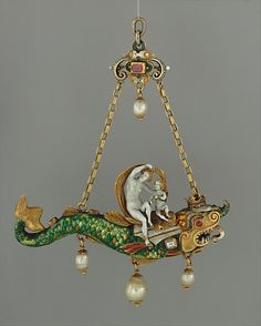 Pendant: Venus and Cupid Astride a Sea Monster    Date: ca. 1580 (?)  Culture: Italian or German  Medium: Gold, enamel, rubies and pearls