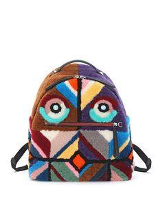 V2Y52 Fendi Mixed-Fur Geometric Monster Backpack, Multi Colors