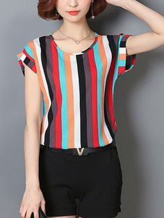 Specifications Product Name: Colorful Vertical Striped Cuffed Sleeve Blouse Weight: 160(g) Sleeve: Short Sleeve Sleeve Type: Cuffed Sleeve Material: Polyester Pattern Type: Vertical Striped Occasion: Casual Package Included: Top / 1 Collar&neckline: Round Neck Season: Summer Size chart as a reference: Waist Length Bust m Inchcm 3588 2359 3590 l Inchcm 3692 2460 3794 xl Inchcm 3896 2461 3998 xxl Inchcm 39100 2462 40102 xxxl Inchcm 41104 2563 42106 More Pictures