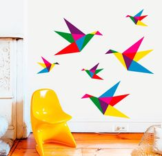 origami birds wall decal in 2019 Bird Wall Decals, Mural Wall Art, Mural Painting, Origami Decoration, Class Decoration, Diy Wall, Wall Decor, Room Decor, School Murals