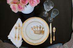 Elegant pink and gold place setting by Randi Garrett Design