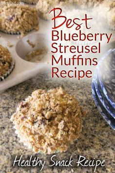 Blueberry Streusel Muffins, Healthy Blueberry Muffins, Healthy Muffin Recipes, Healthy Snacks For Kids, Blue Berry Muffins, Clean Eating Recipes, Paleo Recipes, Real Food Recipes, Breakfast Recipes