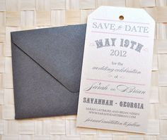 Vintage Tag Wedding Save the Date Ivory Pink Charcoal by lvandy27