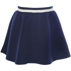 Navy Skater Skirt With Striped Waist (52 CAD) ❤ liked on Polyvore featuring skirts, pink, navy skirt, blue skater skirt, pink skirt, blue circle skirt and pink circle skirt