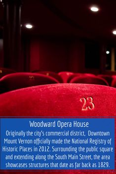The Woodward Opera House is America's oldest authentic 19th-century theater that is still standing. It is located in the center of Mount Vernon's Central Business District. The Woodward Opera House was listed on the National Register of Historic Places on October 10, 1975. The Woodward Opera House underwent a 20-year restoration that cost $22.5M and reopened in 2019. What Is Apple, Public Square, Apple Valley, Central Business District, Mount Vernon, October 10, Still Standing, Main Street, Opera House
