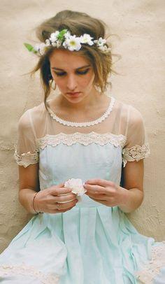 light blue dress and flower crown