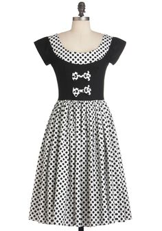 Dots to Think About Dress - Long, White, Polka Dots, Bows, Short Sleeves, Party, A-line, Black, Cocktail, Cotton, Fit & Flare #modcloth #partydress
