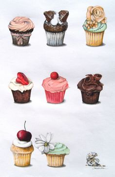 Ideas For Cupcakes Illustration Sketches Album Cupcake Illustration, Illustration Art, Cupcake Kunst, Cupcake Torte, Decoupage, Cupcake Drawing, Watercolor Food, Watercolour, Food Drawing
