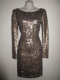 VICTORIA'S SECRET NWOT $198.- Taupe/Bronze All-Over Sequin Knee-Length Dress, S #VICTORIASSECRETMODAINTERNATIONAL #StretchBodycon #FestiveCocktail