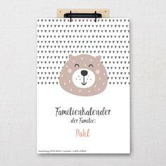 Toller Familienkalender mit separaten Spalten im DIN-A3 Format zum selbst beschriften mit süßen Tieren als Motiv. Personalisierte Namensspalten inklusive! Bullet Journal, Rheinland, Ballpoint Pen, Wall Calendars