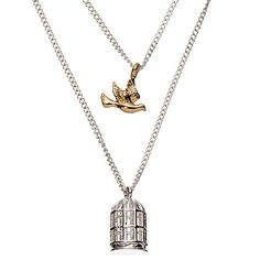 Buy John Lewis Bird and Cage Double Pendant Necklace, Silver/Gold Online at johnlewis.com
