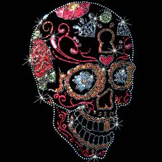 Sugar Skulls Rhinestone/Rhinestud t-shirts. $25.00.  As easy as 1…2….3… 1. Pick a design & shirt style (long-, short-sleeves, & color) 2. Tell us where to print it (front or back) 3. You enjoy it!  Click here for more Skull prints; http://www.909threads.com/Sugar-Skulls-p/15464.htm.