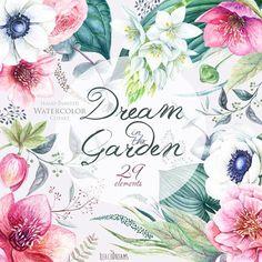 Boda acuarela flores Clipart, flores de Helleborus, anémona, eucalipto, mano pintada, florales invitaciones, tarjetas de felicitación, los archivos PNG