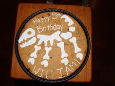"""Giant cookie """"cake"""" Dinosaur bones (fossil) for a preschool birthday party (cupcakes not allowed)."""