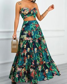 Tropical Print Crop Top & Maxi Skirt Set Shop- Women's Best Online Shopping - Offering Huge Discounts on Dresses, Lingerie , Jumpsuits , Swimwear, Tops and More. Maxi Skirt Crop Top, Maxi Skirts, Backless Maxi Dresses, Trend Fashion, Womens Fashion, Hippie Chic Fashion, Fashion Black, Fashion Fashion, Winter Fashion